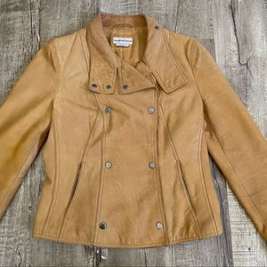 Emporio Armani Vintage Leather Moto Jacket Tan 10